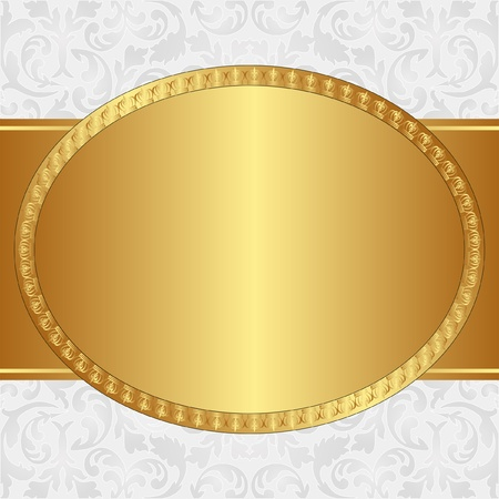 golden background with oval frame and floral ornaments Vector