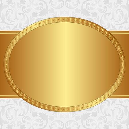 owalne: złote tło z owalnej ramce i ozdoby kwiatowe