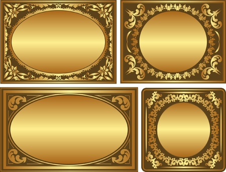 quadrat: set of golden backgrounds with ornaments and copy space Illustration