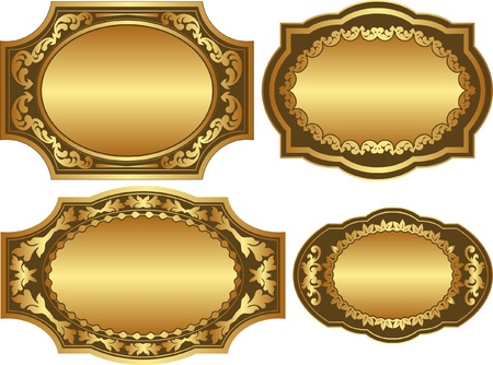 set of golden backgrounds with ornaments and copy space Vector