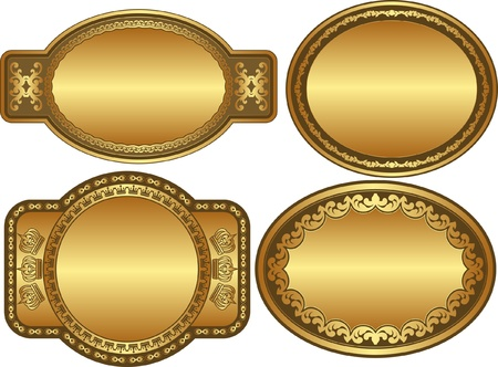 brushed gold: set of golden backgrounds with ornaments and copy space Illustration