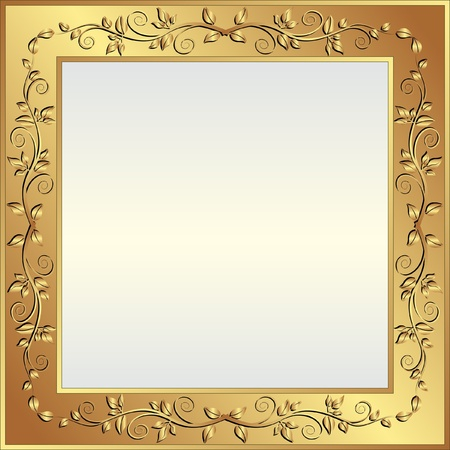 gold floral: bright background with golden frame and copy space