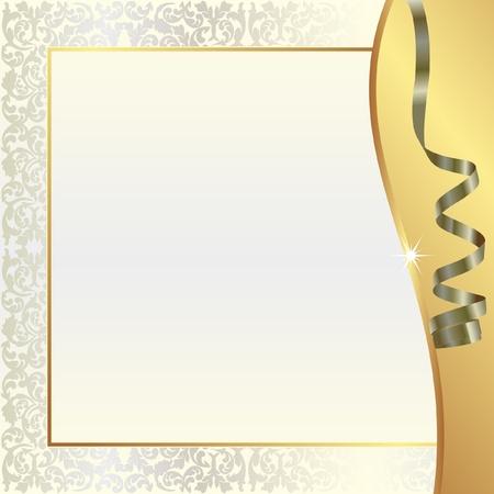 fondo oro con ornamenti di perle e nastro
