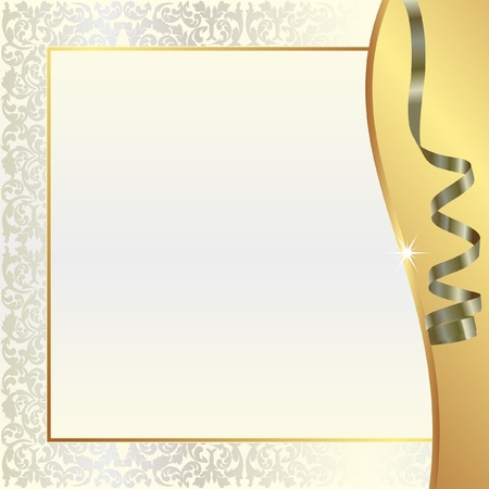 shone: gold pearl background with ornaments and ribbon