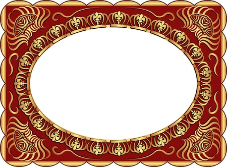 brass plate: dark red background with gold ornaments and copy space