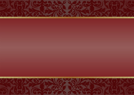 deep red  background with ornaments Vector