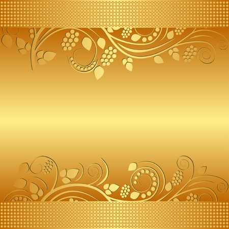 golden background decorated floral ornaments Vector