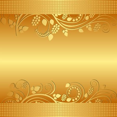 sfondo dorato decorato ornamenti floreali
