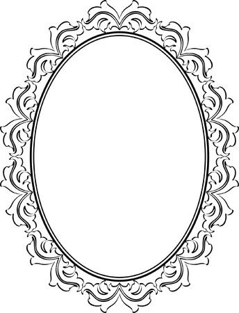 silhouette ornamental frame oval