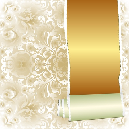 ornamental scroll: ripped wallpaper displaying a golden background with copy space Illustration