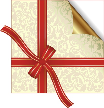 plied: red gift ribbon wrapped around decorative background with copy space Illustration