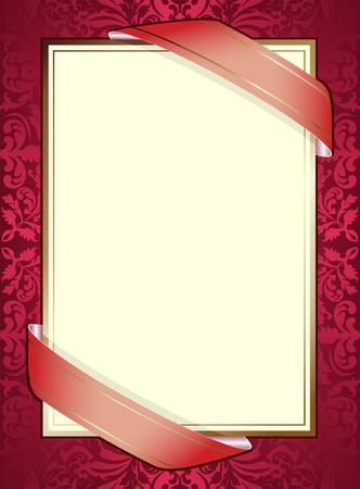 burgundy ribbon: invitation with ribbons on red background Illustration