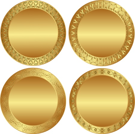 brass plate: round golden background