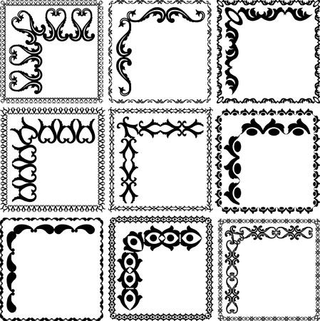 silhouette square frames and corners Illusztráció