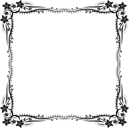 symmetric: silhouette frame with floral ornaments Illustration