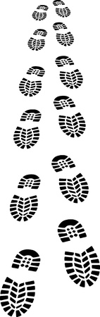 shoe print: Footprints of a shoe - vector illustration