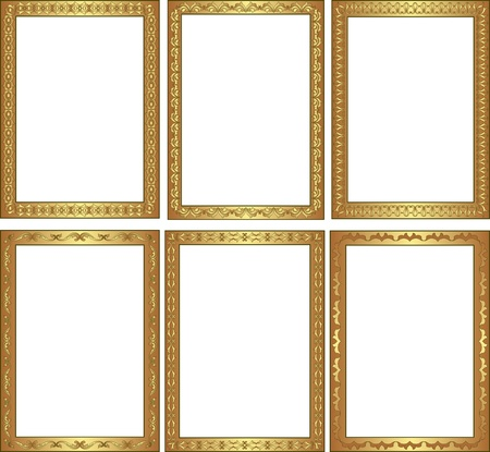 brass plate: golden frame with ornaments Illustration