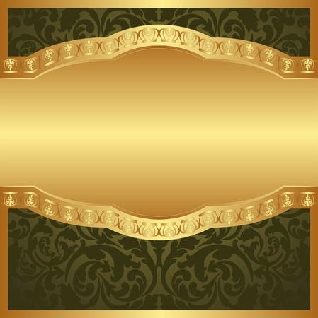 fond d'or avec des ornements floraux Vecteurs
