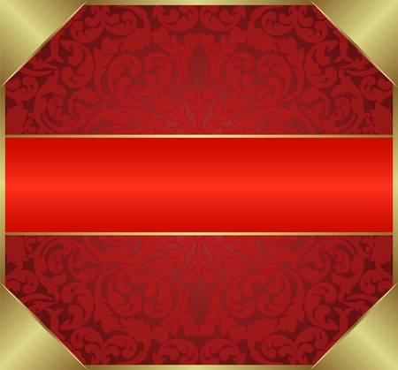 red background with floral ornaments Vector
