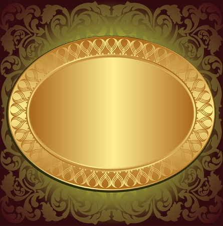 brushed gold: gold end brown background with floral ornaments and copy space