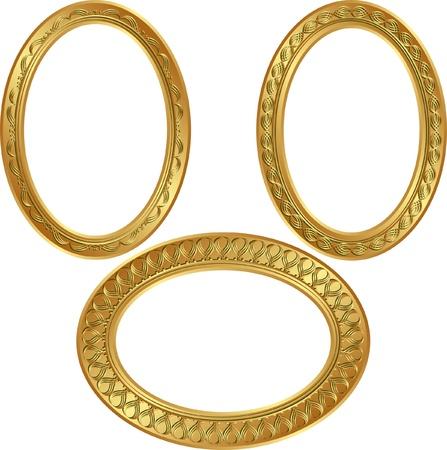 ovalo: marco de oro ovalada, con adornos