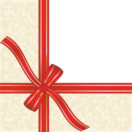 red gift ribbon wrapped around decorative background with copy space Stock Vector - 13014493