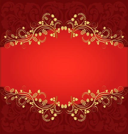 red background with ornamental plant Vector