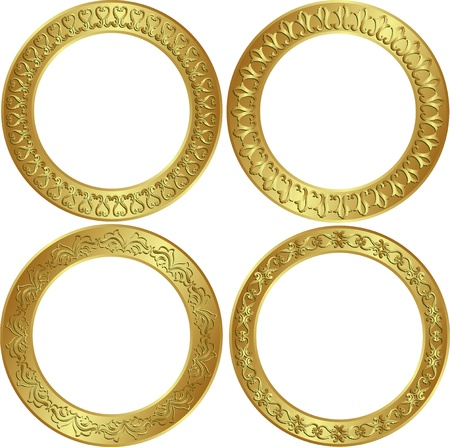 round golden frames with ornaments Vector