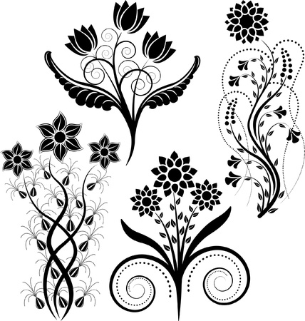 creative arts: flowers silhouette Illustration