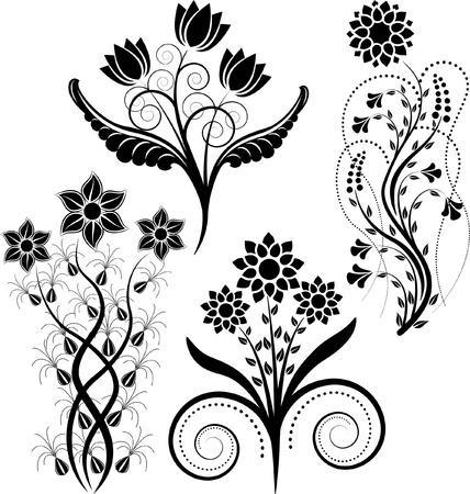 flowers silhouette Illusztráció
