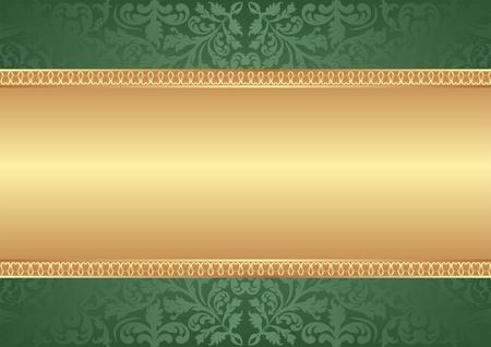 식물상: 장식품 금색과 녹색 배경