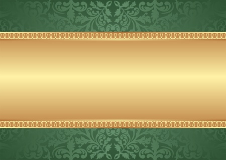 gold and green background with ornaments Vector