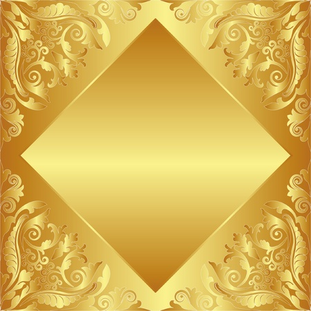 brass plate: golden background decorated floral ornaments Illustration