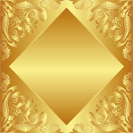 brushed gold: golden background decorated floral ornaments Illustration