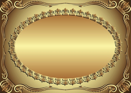 brass plate: golden background decorated ornaments Illustration