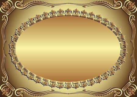 golden background decorated ornaments Illusztráció