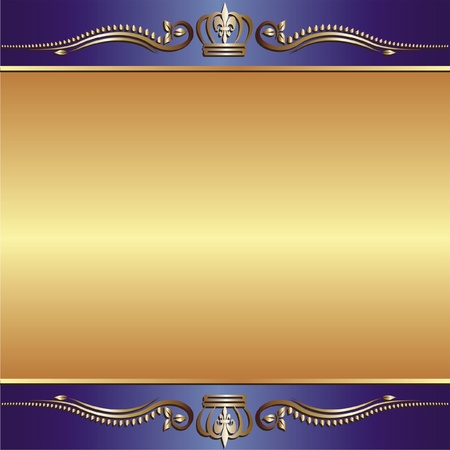 brass plate: blue gold background with ornaments Illustration