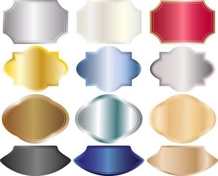 metallic banners: metallic banners in different shapes and colors