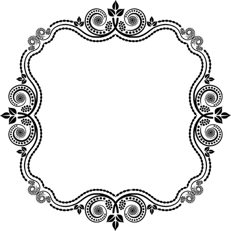 square frame with floral decoration Illustration