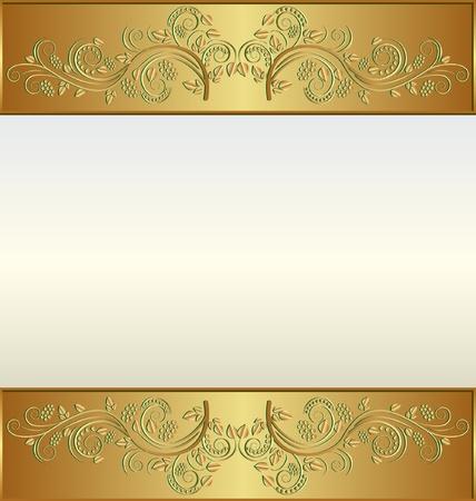金: テキストのための場所とヴィンテージのゴールデン フレーム  イラスト・ベクター素材