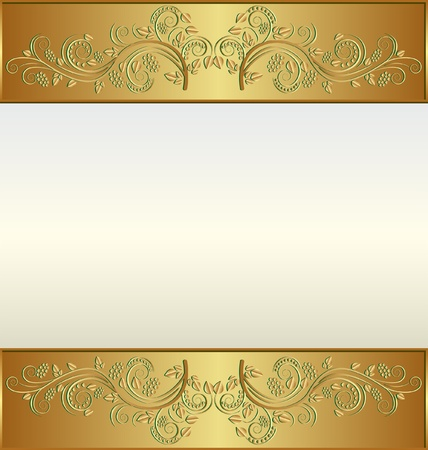 metallic border: Vintage golden frame with place for the text Illustration