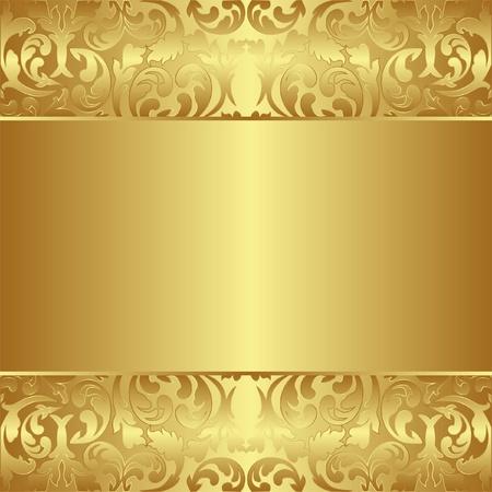 金: 金色の背景に花の装飾品