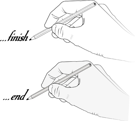 graphite: hand holding pencil with word end and finish - vector illustration - transparent and silhouette  Illustration