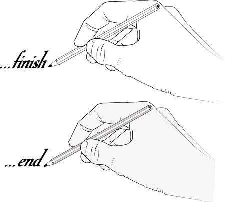grafito: mano que sostiene un lápiz con la palabra fin y acabado - ilustración vectorial - transparencia y la silueta
