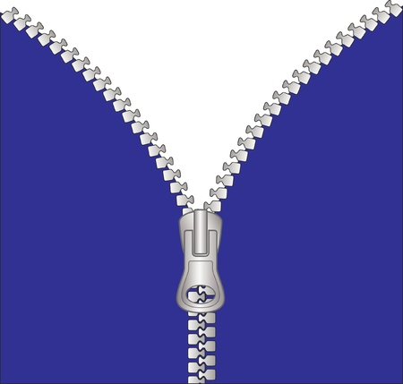 fastening: unzipped metal zipper with transparent space under blue fabric