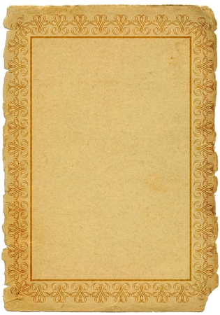 yellowed: old paper with decorative frame