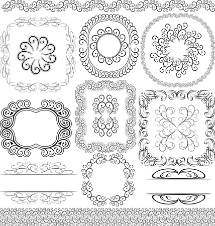 vector set - borders, frames and ornaments Stock Vector - 13565010