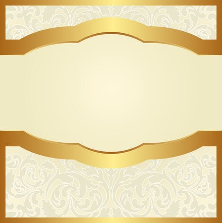 golden background: bright background with floral ornaments and golden frame