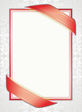 red envelope: white background with red ribbons and ornaments