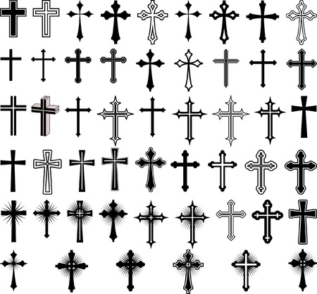crucifix: clip art illustration of crosses